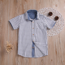 57a48cf5c2abac Toddler Plaid Shirts Summer Outfits Baby boy Short Sleeve Tops Children  Plaid Print Button Shirts Kids