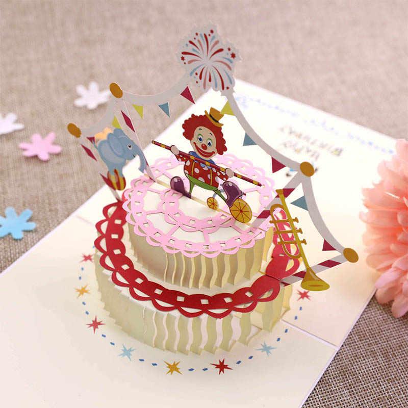 Surprising Funny Cartoon Clown 3D Birthday Cake Greeting Card Handmade Party Funny Birthday Cards Online Inifodamsfinfo