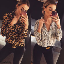 Women Summer Shirt Leopard Print Long Sleeve Button V Neck T Shirt Casual Blouse Tops все цены