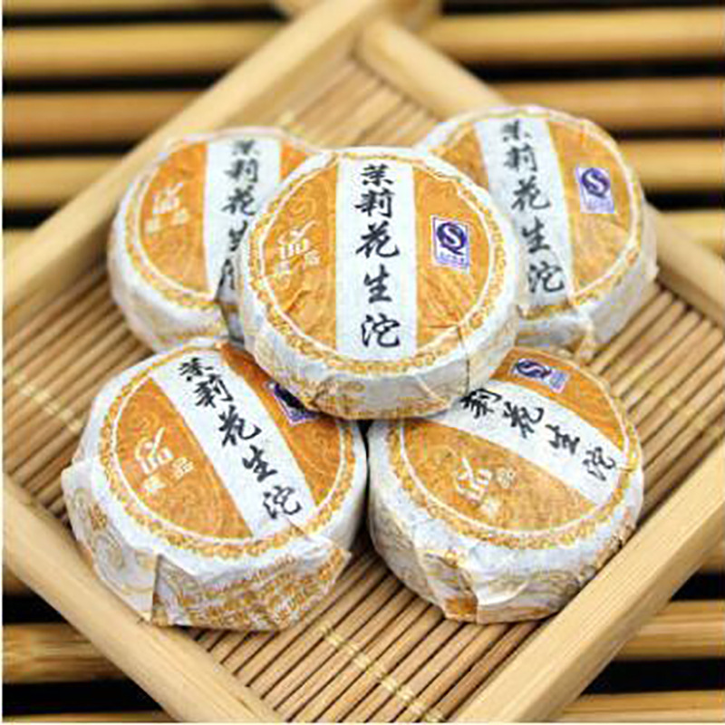China Grüne Bio Jasmin Blume Raw Puer Tee Kuchen über 4-6g/piecs Chinesische Pu Er Tee Mit Jasmin Geschmack Shen Puerh Pu Erh Tee