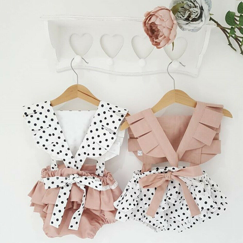 2019  Newborn Baby Girls Backless Romper Jumpsuit Bodysuit Outfits Clothes Summer