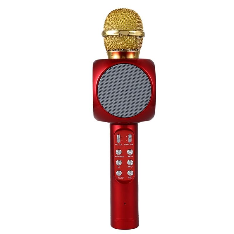 WS1816 Wireless Bluetooth KTV Karaoke Microphone Speaker USB LED Light