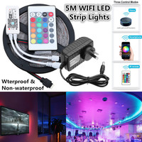 Smuxi 5M RGB LED Strip Light 2835 SMD Waterproof Flexible LED Ribbon With WIFI Controller + DC12V Power Adapter