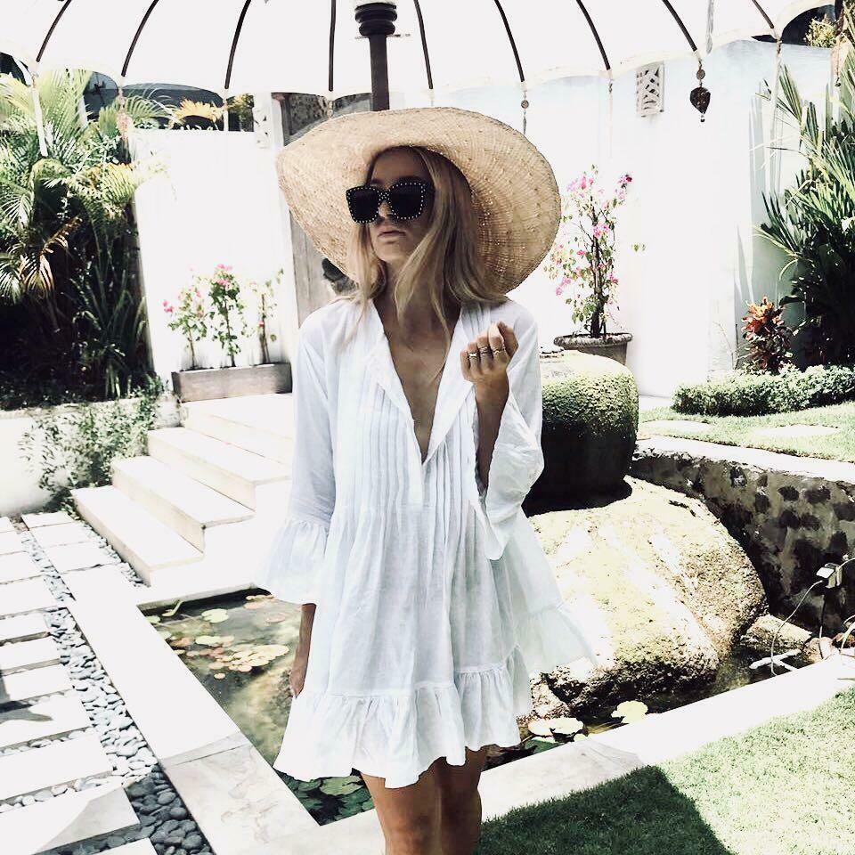 frauen sommer sexy drei viertel sleeve v-ausschnitt abdeckung up kleider  damen boho solid weiß strand lose mini kleid
