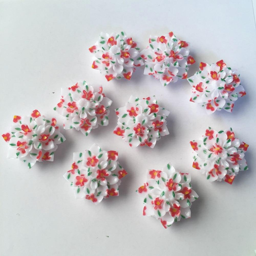 New 10PCS AB Resin 20mm Print Flower Flatback Stone Wedding Diy Scrapbok Crafts DIY Resin Ornaments R522