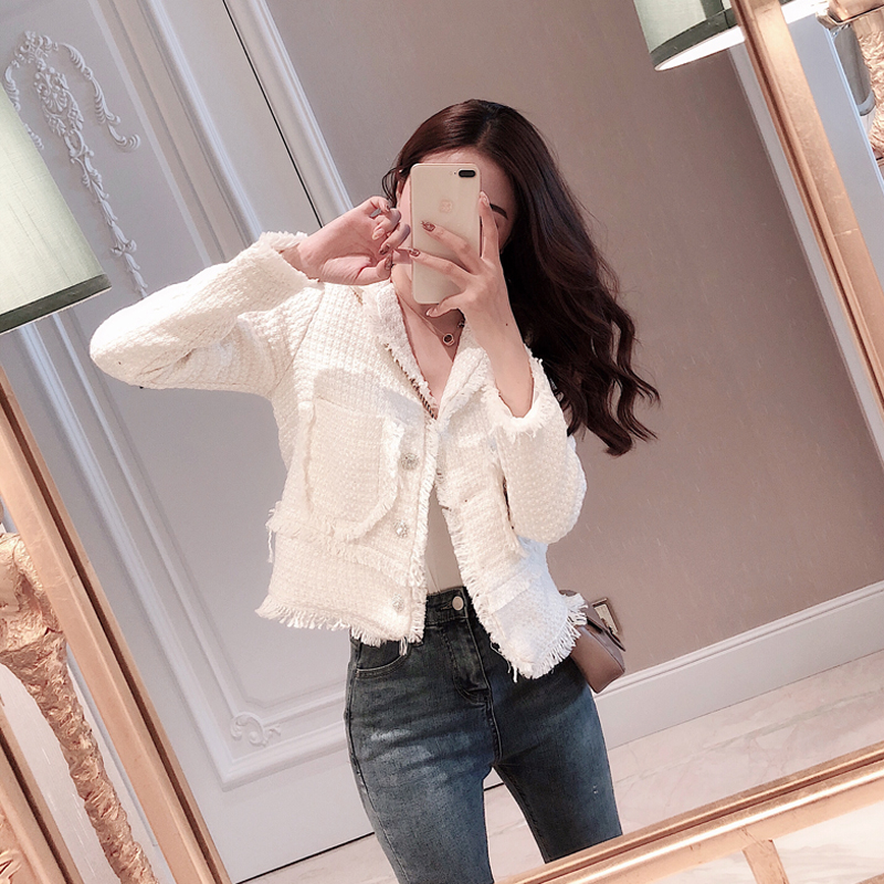 2019 New Fashion Women   Coat   Pockets Womens Jackets and   Coats   Vintage High Street Tweed Jacket Crop   Coat   Female Jacket(Runs Small