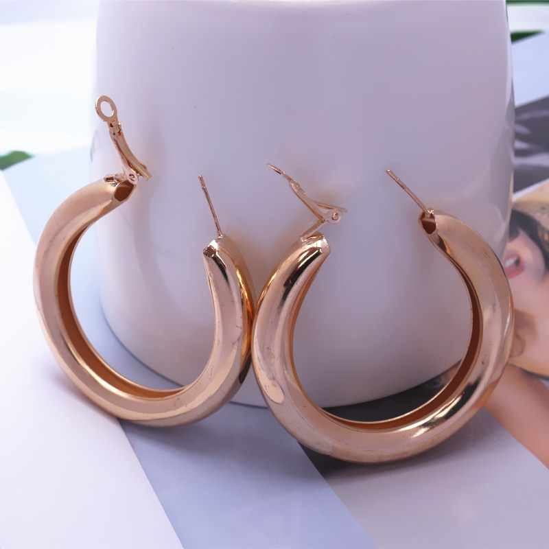 Punk Rock Earrings 5cm Thick Tube Big Circle Round Simple Hoop Earrings for Women Party Fashion Jewelry Gold Silver Color Bijoux