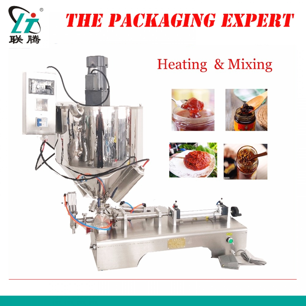 Mixing And Heating Hopper Filler Cream Yoghourt Honey Juice Sauce Jam Filler Paste Filling Machine Pneumatic Piston Filler