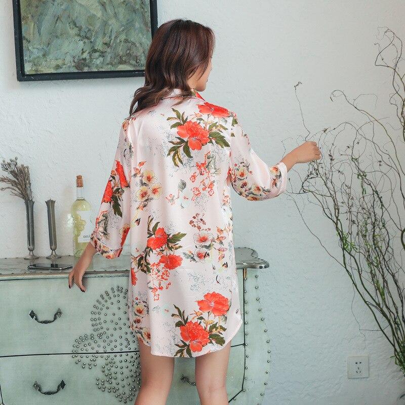 2019 Fashion Women Nightshirts Sexy Silk Nightdress Flower Print Nightgowns Sleepwear Satin Sleepshirts Nightwear in Nightgowns Sleepshirts from Underwear Sleepwears