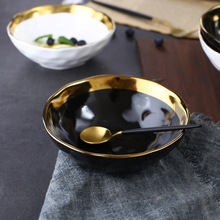 Round White Black Ceramic Salad Bowl Gold Japanese Style Noodle Container For Soup Rice Bowl Ceramica Set Kitchen Tool Tableware round white black ceramic salad bowl gold japanese style noodle container for soup rice bowl ceramica set kitchen tool tableware