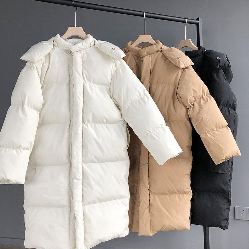 Manteau Hiver Solide rembourré Automne Blanc Casual Pardessus Coton Nouvelle Long Coréenne Mooirue khaki white Femmes Paresseux Black Couleur Impression RB1qwI55