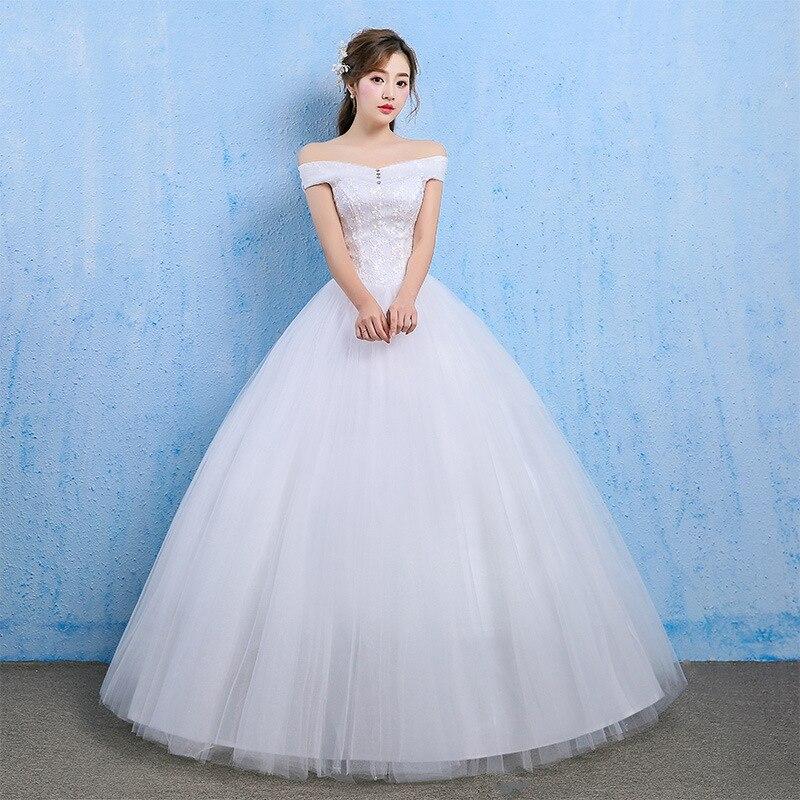 Cheap Wedding Dress 2019 Elegant Ball Gown Off Shoulder Lace Back Appliques Lace Princess Bridal Gowns Vestidos De Noivas