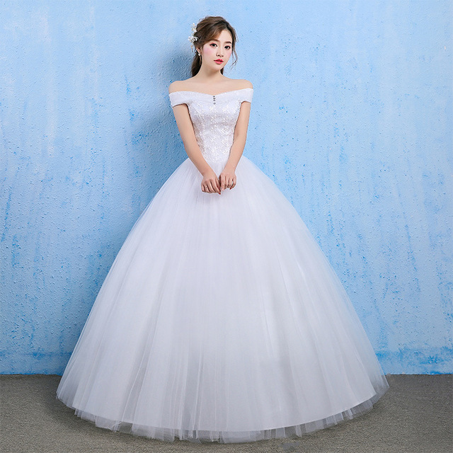 ราคาถูกงานแต่งงาน 2020 Ball Gown ปิดไหล่ลูกไม้กลับ Appliques ลูกไม้เจ้าหญิงชุดเจ้าสาว Vestidos De เจ้าสาว