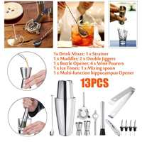 13Pcs 750/800mlx600ml Stainless Steel Cocktail Shaker Mixer Wine Martini Drinking Mixer For Bartender Drink Party Bar Tools