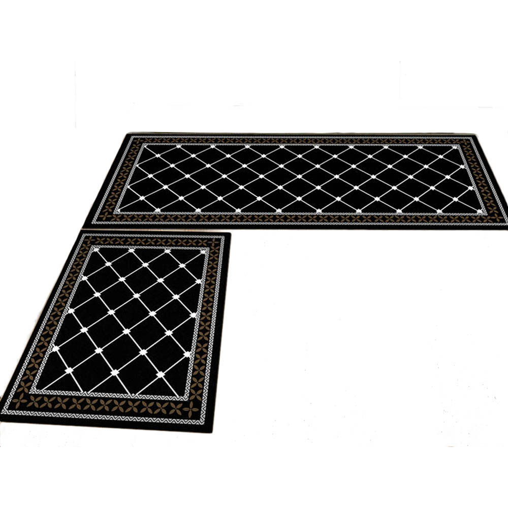 Non Slip Modern Grid Home Kitchen Mat Pad Dining Room