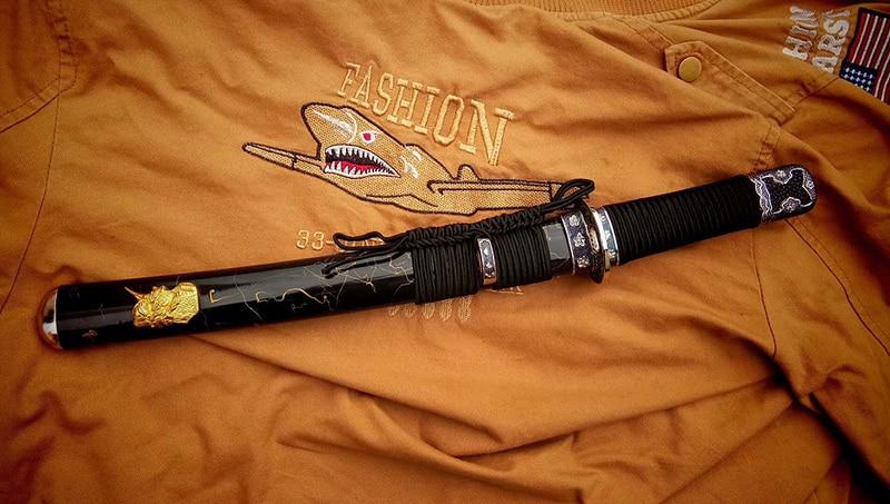 Épées de TANTO à la main japonais samouraï épée 9260 printemps acier pleine lame de Tang courte Katana très forte fonctionnelle épée