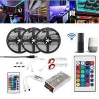 Smuxi 15M 2835 RGB Flexible LED Strip Light Kit Alexa Smart Home Wifi Control APP AC110 240V Wireless Control TV Light IP20/IP65