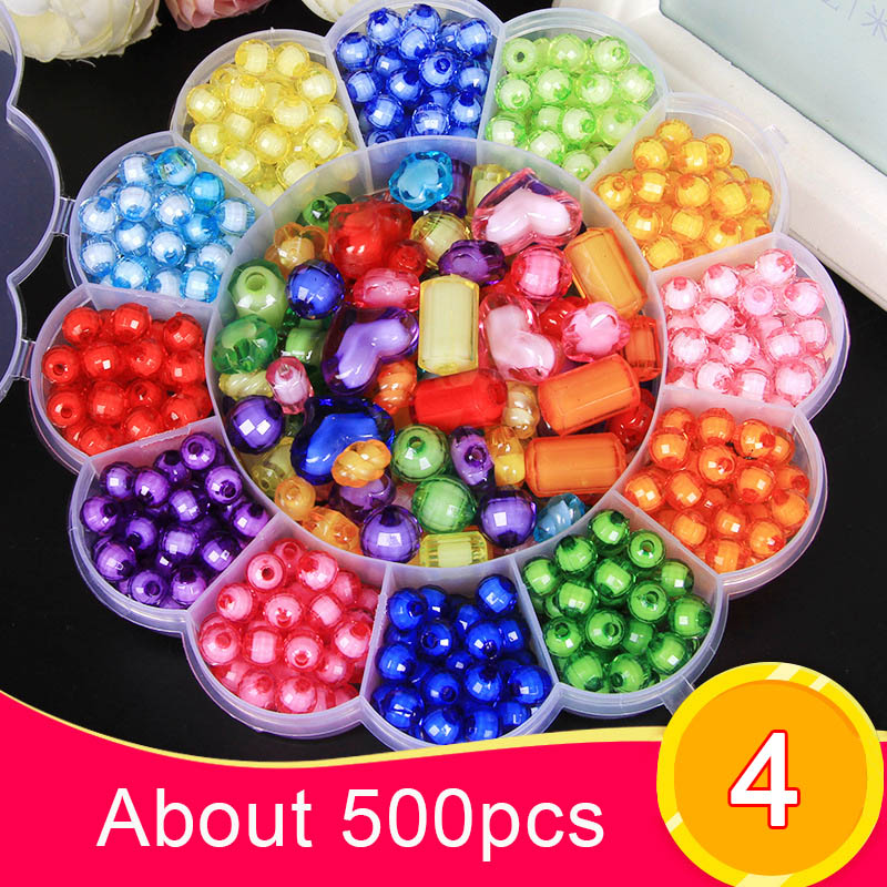 DIY Acrylic Beads Kit Children Kid Bracelet Necklace Jewelry Making Girl Toy Mixed Bead Set With Box YJS Dropship