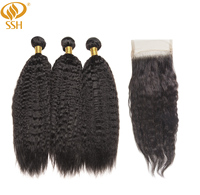 SSH Kinky Straight Remy Hair Bundles With Closure Yaki Human Hair 3 Bundles With Closure