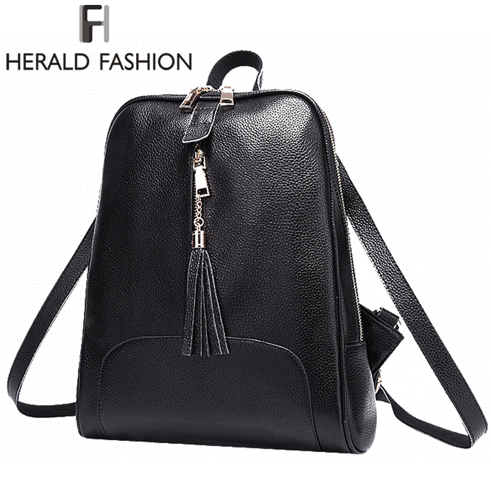 Herald Fashion Genuine Leather Woman Backpack With Tassel Quality Cow Split Leather School Bag for Teenage Girl Lady Travel Bag 2016 genuine leather woman backpacks fashion cowhide split leather backpacks for lady solid high quality leather woman bag