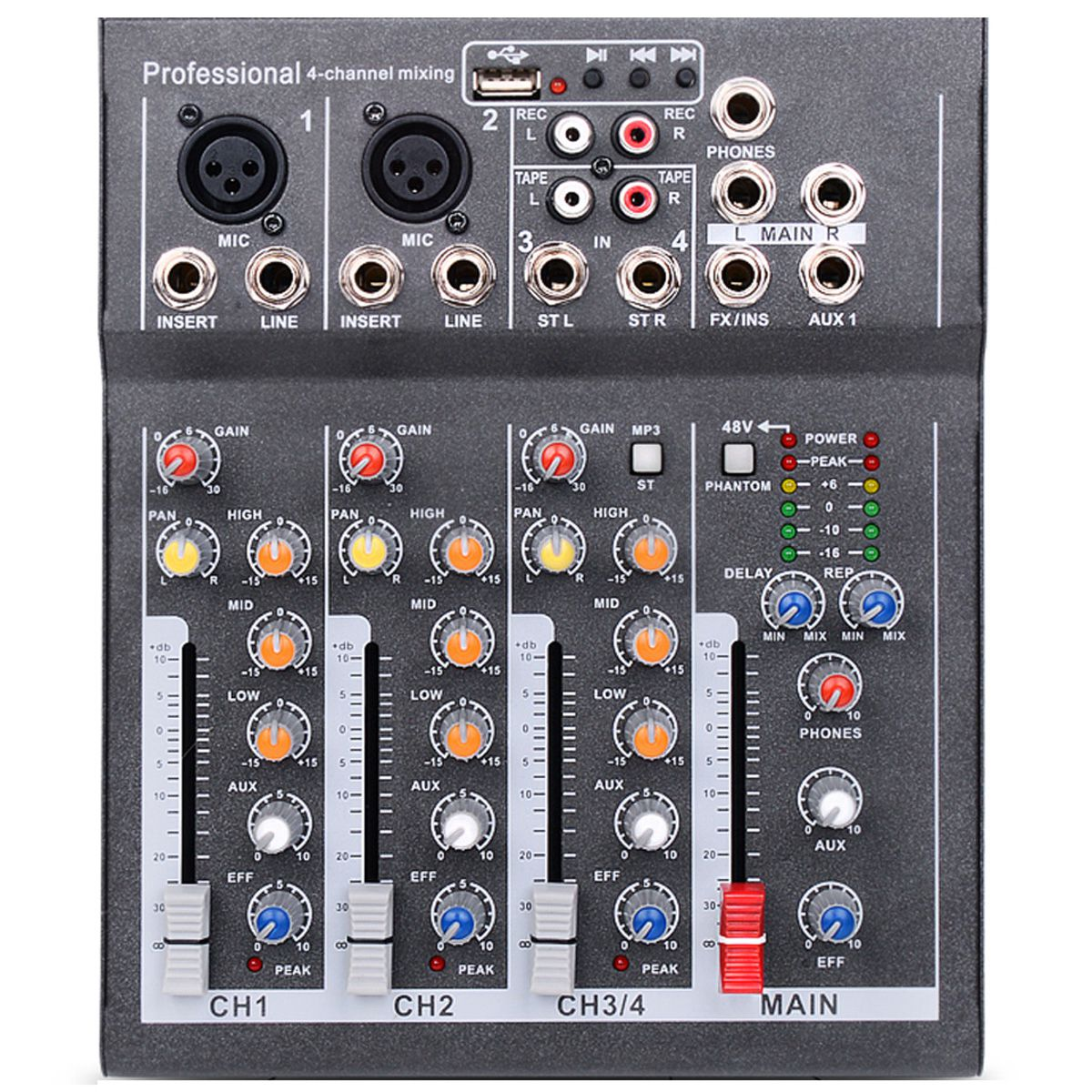 Mini mélangeur Audio portatif de prise de l'ue avec la Console de mélange de son d'usb Dj prise Mp3 amplificateur du karaoké 48 V de 4 canaux pour le karaoké Ktv Ma