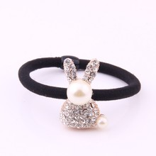 Gum For Hair Metal Crystal Rabbit Charm Rubber Band Lady Alloy Jewelry Accessories Rhinestone Paved Charms Bands