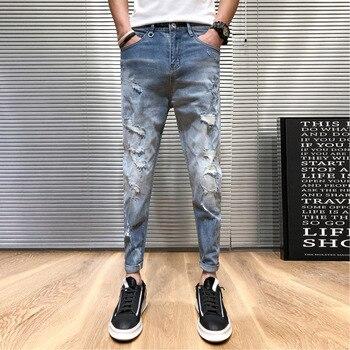 Novedad de verano, pantalones vaqueros ajustados para hombre a la moda lavados de Color liso, pantalones vaqueros con agujeros rasgados para hombre, pantalones de hip hop, ropa para hombre