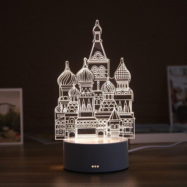 Lámpara LED de noche de resina 3D, lámpara de mesa con bonito oso, Castillo de amor, luz de mesa ABS + lámpara de regalo de diseño múltiple de resina para dormitorio infantil