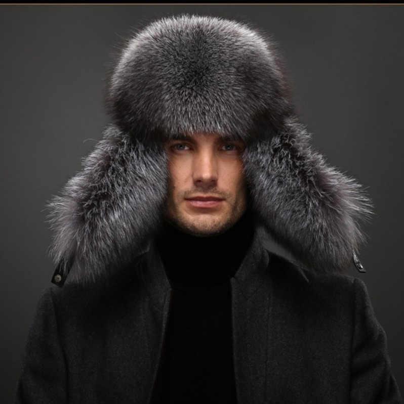 fee15c59d8 ... Ushanka Winter Caps bomber mens winter hats ear flaps soft genuine  sheepskin leather men s Caps Fox