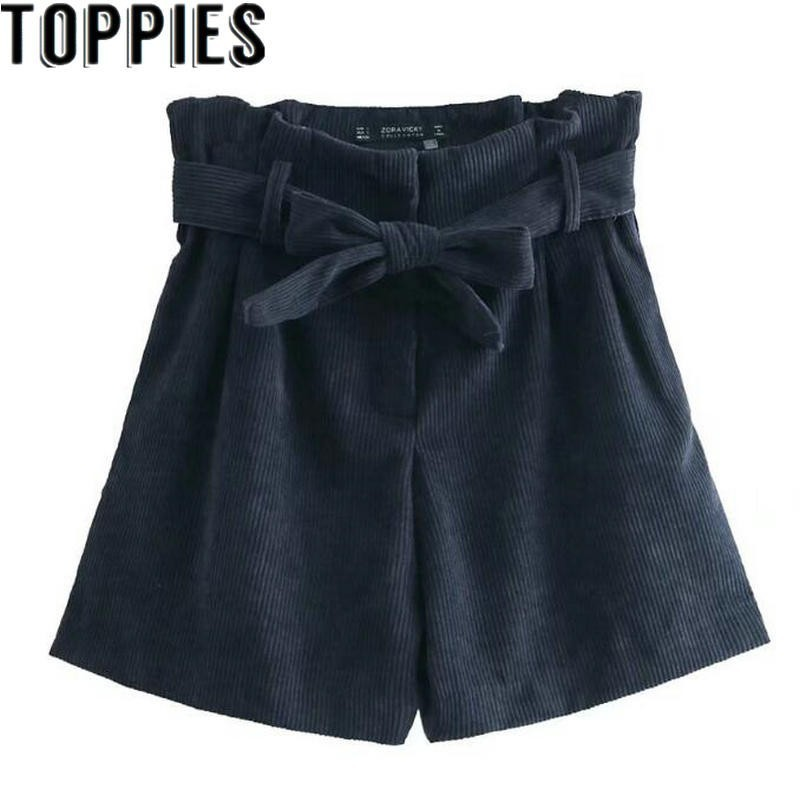 Women Paper Bag   Shorts   High Waist Belted Corduroy   Shorts   Loose Winter   Shorts