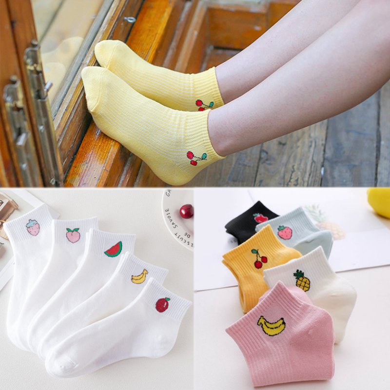 1Pair Korean High Quality Spring Girls Women Autumn 2019 New Cotton Popular Comfortable Cute Fruit Printed Boat Socks
