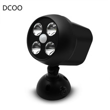 DCOO 360 Degree Rotary Motion Sensor Spotlight IP65 Waterproof 4LED Outdoor LightsBattery Operated Lamp Security Lights For Wall