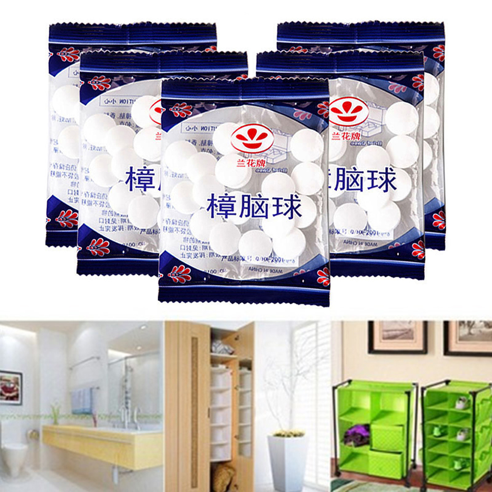 20Pcs/bag Natural Camphor Ball Wardrobe Shoe Odor Removal Insect-resistant Moth-proof Prevent Mildew And Moth Living Room Toilet