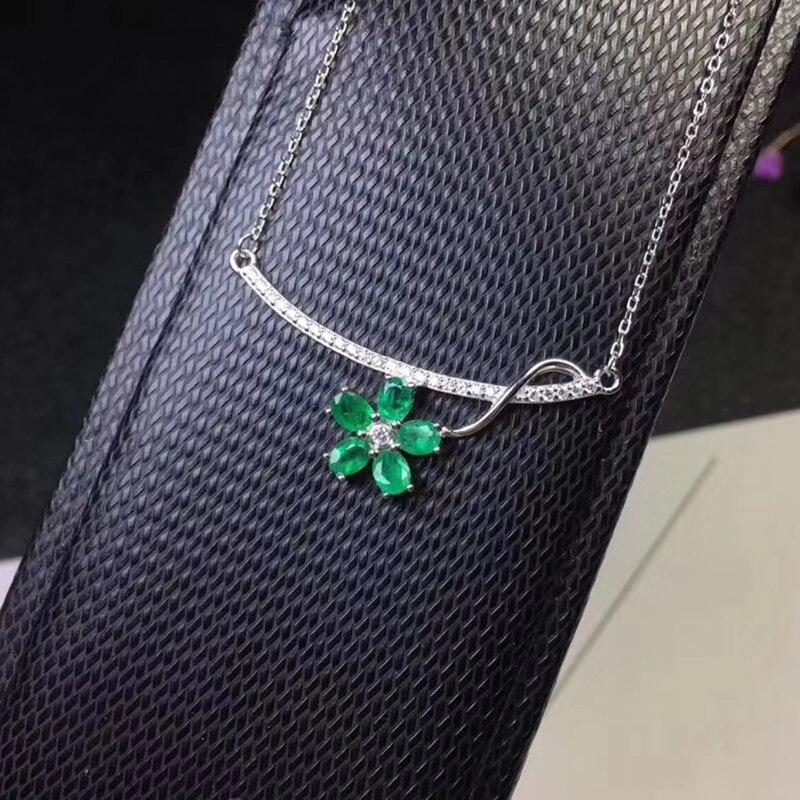 Elegante verde smeraldo del pendente per il partito 5 pz naturale SI grado smeraldo ciondolo collana in argento solido 925 argento smeraldo gioielli - 5