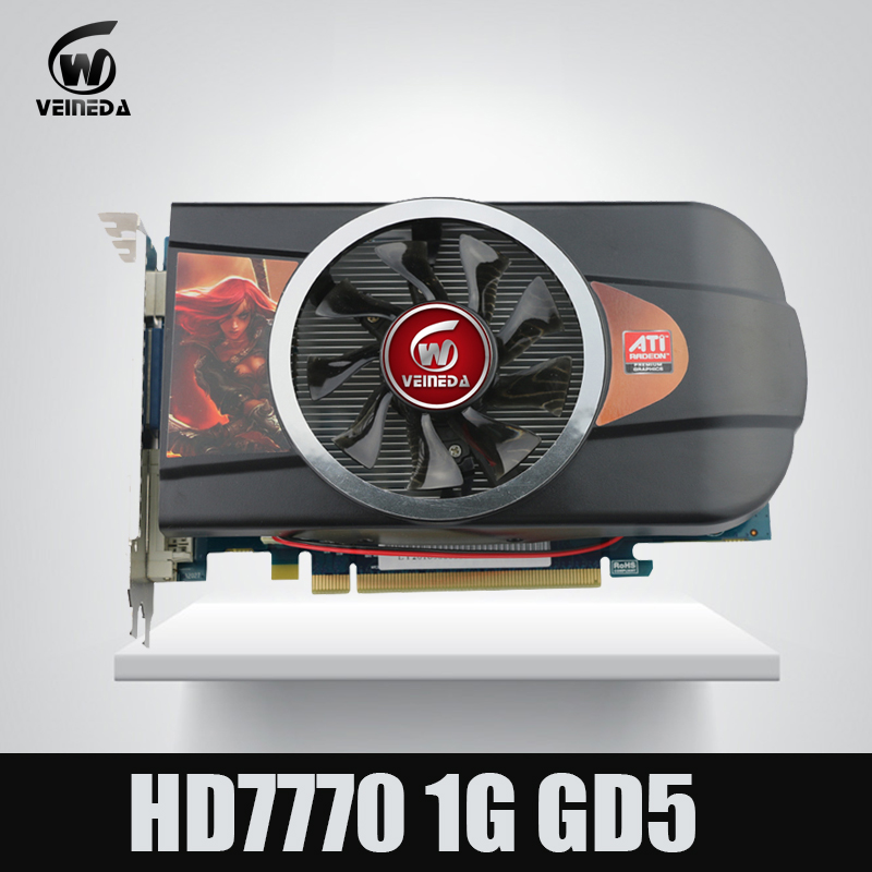 VEINEDA Graphics cards Video Card HD7770 1GB 128Bit GDDR5 for ATI Radeon Games dhl ems free shipping new ati radeon 9550 256mb ddr2 agp 4x 8x video card from factory 50pcs lot
