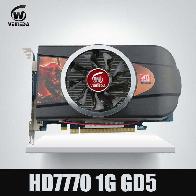 VEINEDA tarjetas de gráficos tarjeta de vídeo HD7770 1 GB 128Bit GDDR5 para ATI Radeon juegos