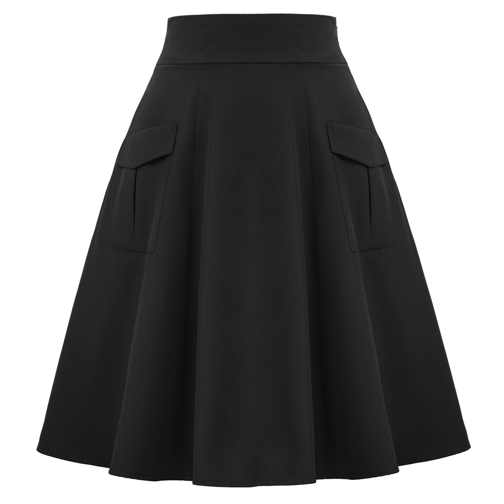BP Women classic knee length skirts Vintage Retro elegant Solid Color elastic High Waist skater Flared A-Line Skirt With Pockets