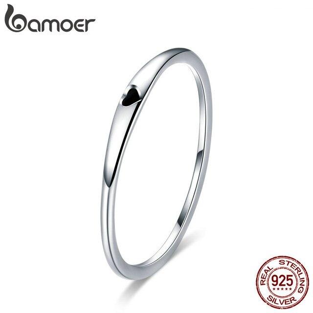 BAMOER 925 пробы Серебряный Круглый Круг чистый простое кольцо на палец сердце выгравировать кольца для женщин Свадебные обручение Jewelry SCR468