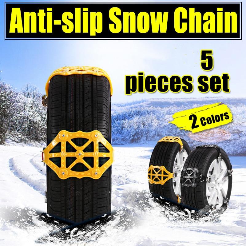 5 pcs/lot anti-dérapant neige chaînes universel voiture costume pneu hiver chaussée sécurité pneus chaînes neige escalade boue sol antidérapant