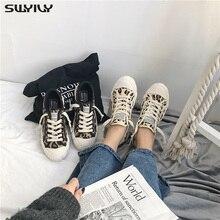 SWYIVY baskets en toile pour femmes, chaussures léopard, plates, nouvelle collection 2020, chaussures de printemps décontractées