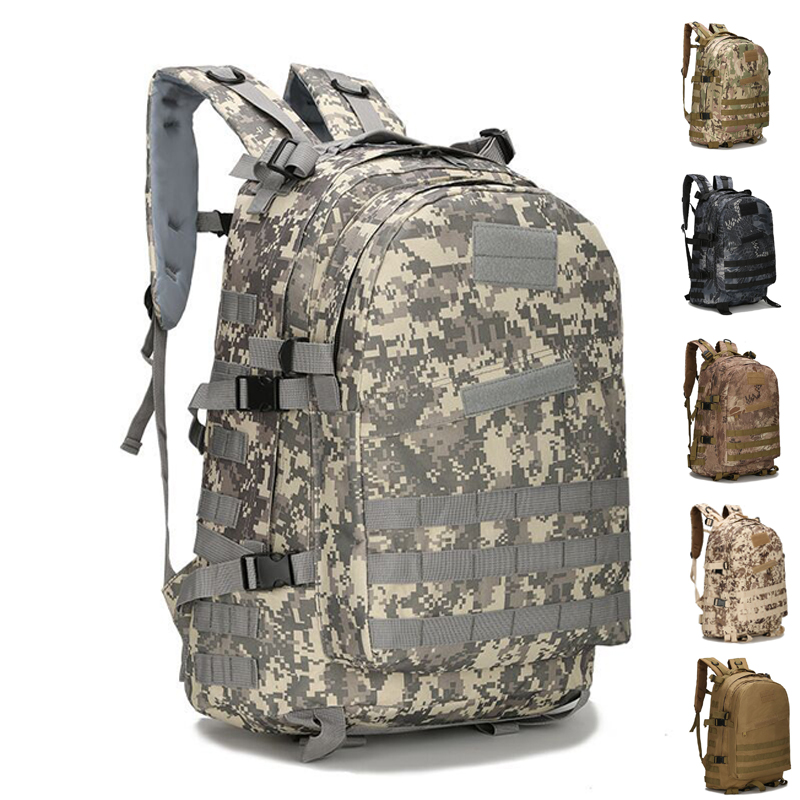 45L Large Capacity Tactical Backpack Army Military Assault Bags Outdoor Hiking Trekking Hunting Camping Bag Camo Airsoft