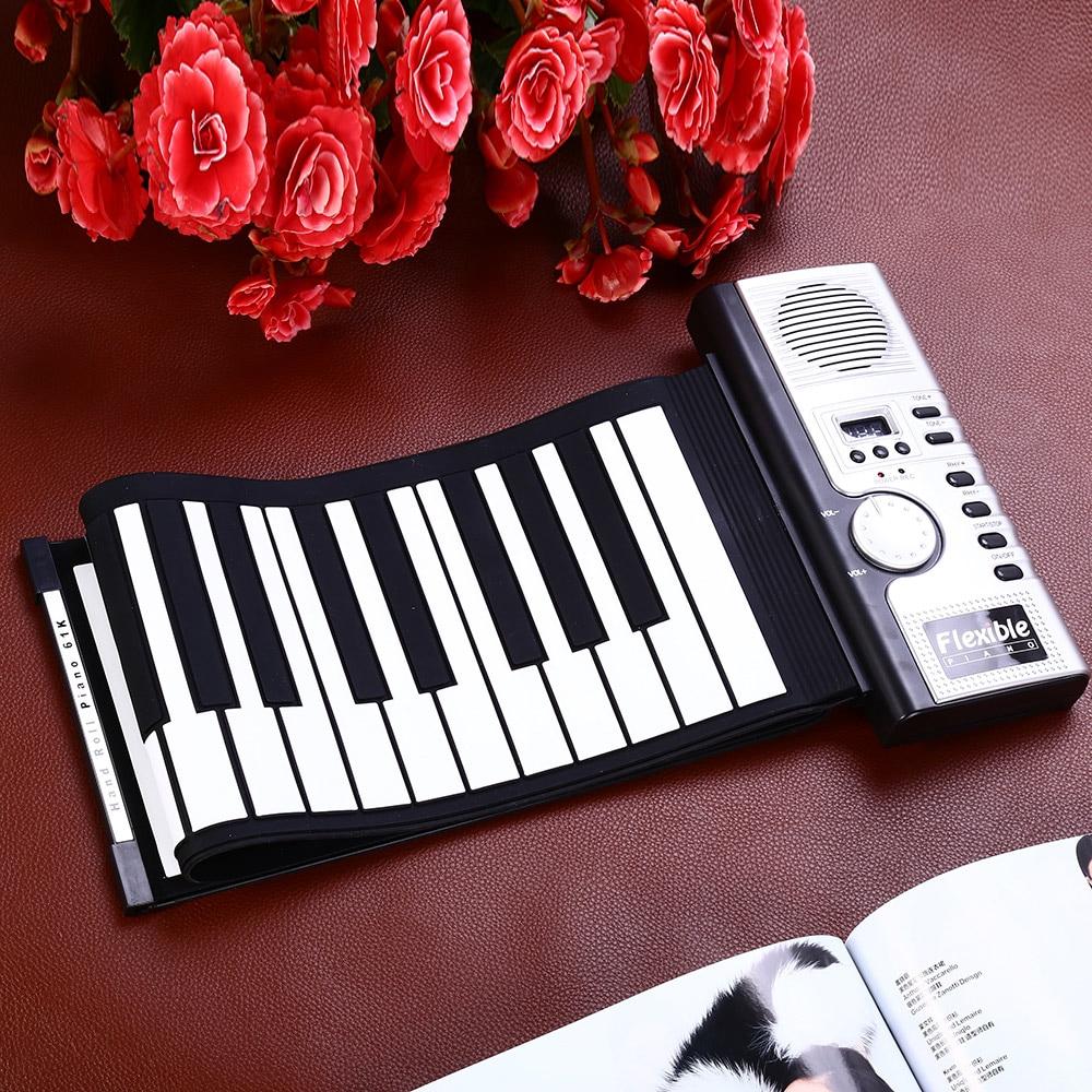 Portable Flexible 61 touches Silicone MIDI numérique retroussable clavier Piano pliable diatonique électronique retrousser Piano