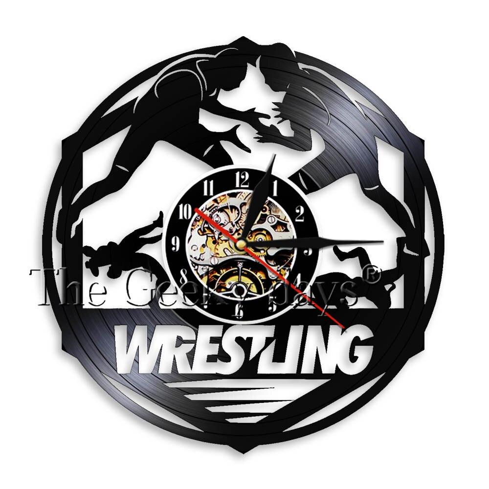 Wrestling Vinyl Record Wall Clock Unique Handmade Wrestle Sign Sport Decor Clock Watch Gymnasium Modern Quartz Decor Wall Clock