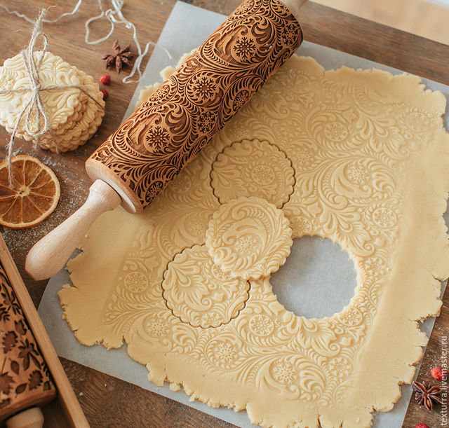 35*5cm Christmas Embossing Rolling Pin Baking Cookies Noodle Biscuit Fondant Cake Dough Engraved Roller Reindeer Snowflake