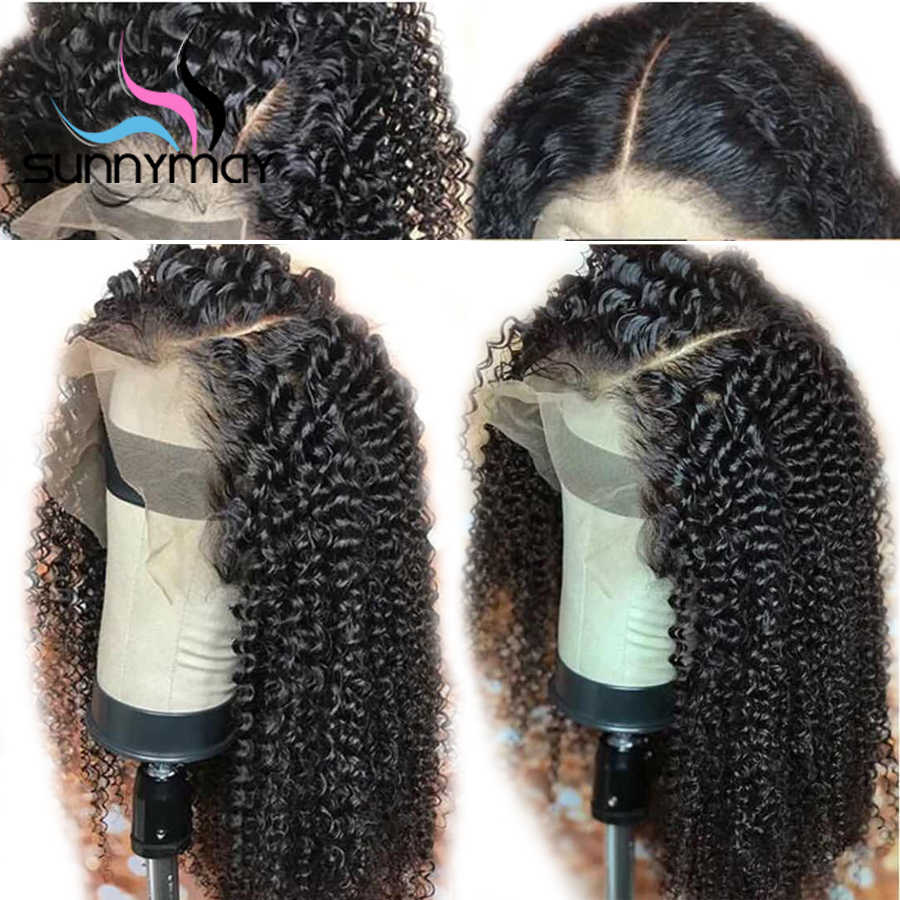 Sunnymay 13x6 кудрявый парик бразильский Синтетические волосы на кружеве человеческих волос парики с детскими волосами Синтетические волосы на кружеве парик Волосы remy предва