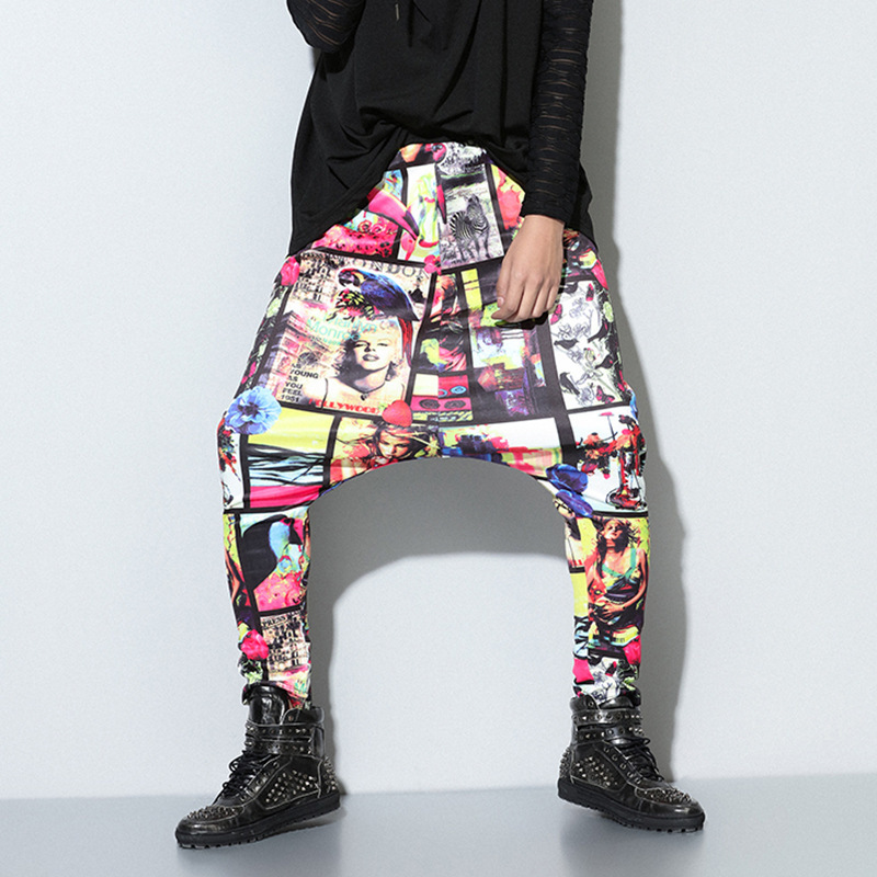 Harem-Pants Print Joggers Nepal-Style Pockets Streetwear-Trousers Drop-Crotch Loose Mens