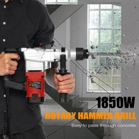 4 in 1 1850W 220V Electric Demolition Jack Hammer Rotary Jackhammer Electric Concrete Drill With 4 Chisels 5200BPM