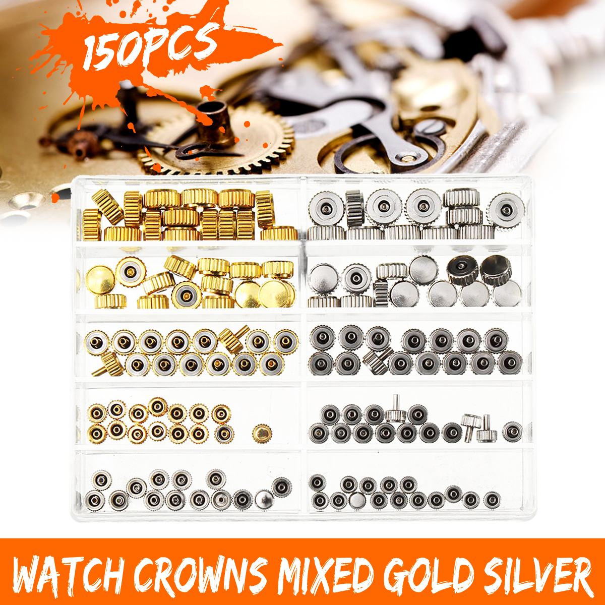 Cymii Watch Crown Parts Replacement Assorted Gold & Silver Dome Flat Head Watch Accessories Repair Tool Kit For WatchmakerCymii Watch Crown Parts Replacement Assorted Gold & Silver Dome Flat Head Watch Accessories Repair Tool Kit For Watchmaker