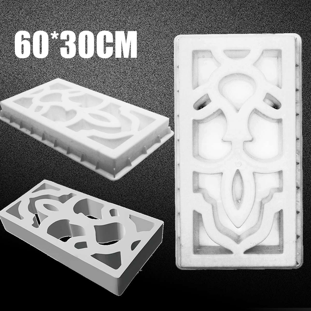 60X30X8CM White Concrete Molds DIY Antique Window Scenic Wall Plastic Mold Cement Brick Concrete Mold Great For Paving Molds