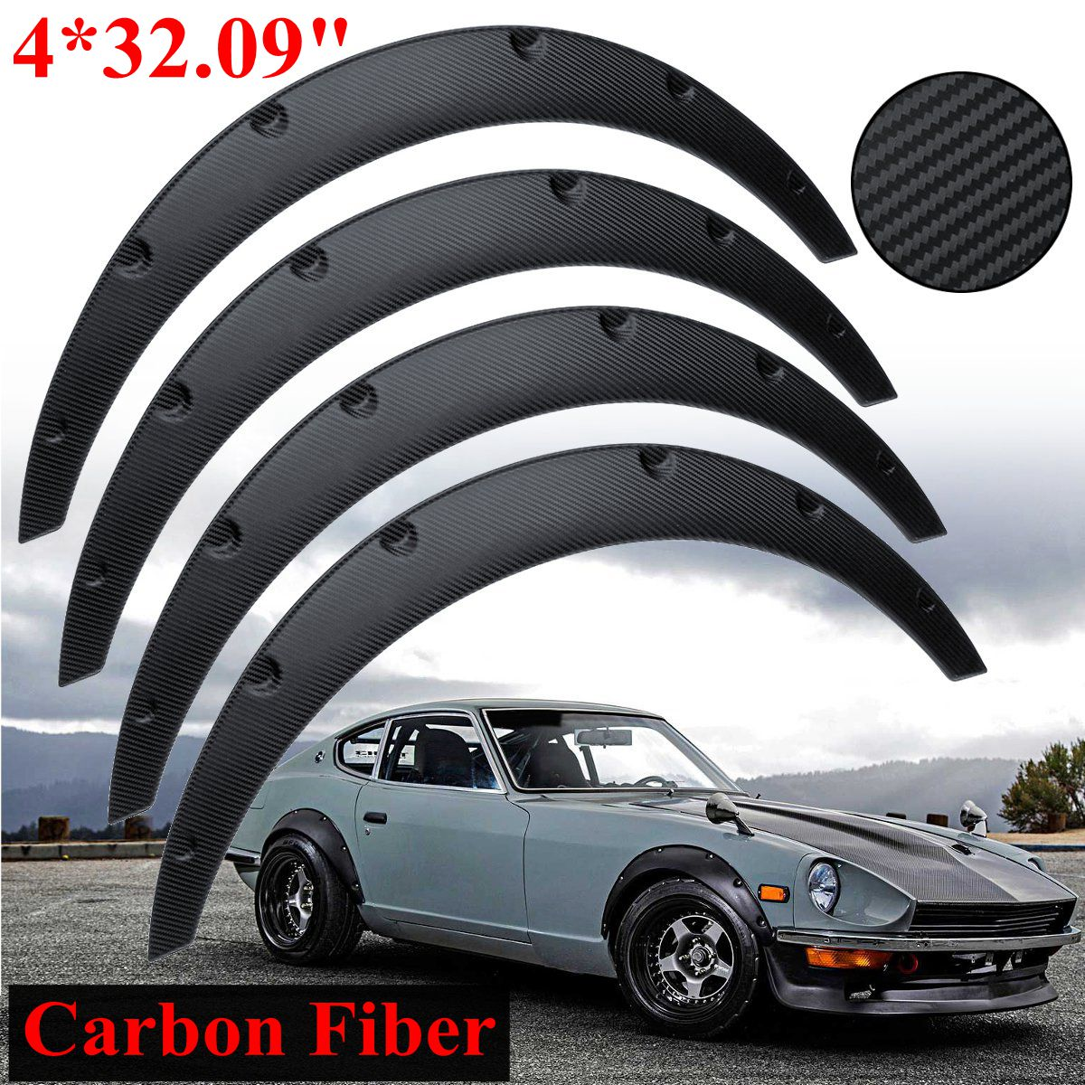 Carbon Fiber 4pcs Fender Wheel Arches Flare extension flares wide 4 arches set